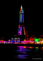 Rainbow Lights (JKmedia) Tags: street sea sky tower beach water lamp wheel festival night reflections lights pier sand waves colours power transport illuminations ferris artificial celebration electricity manmade handheld vehicle annual colourful bigwheel blackpool afterdark powered blackpooltower 2015 canoneos7d boultonphotography