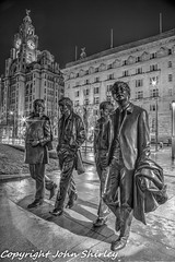 Beatles Monochrome HDR (johnshirley59) Tags: fab music art public musicians night liverpool john paul four photography george harrison time kodak band nighttime beatles eastman lennon ringo mccartney hdr pierhead starr merseybeat