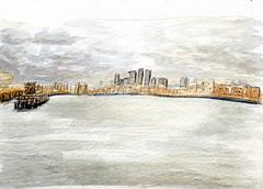 vue sur la Tamise (version aquarelle) (ybipbip) Tags: watercolor painting paper landscape paint aquarelle peinture watercolour acuarela paysage aquarela aquarell acquerello akvarell stcutberth