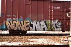 NONE NARO (TheGraffitiHunters) Tags: street orange white black green art train graffiti colorful paint none tracks spray boxcar naro benched benching