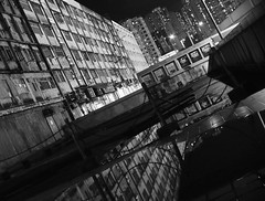 (a.pierre4840) Tags: blackandwhite bw reflection monochrome architecture hongkong cityscape nightshot olympus handheld xenon omd 25mm schneider kreuznach f095 em5 cmount