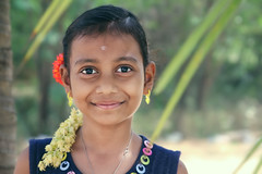 Happy face of an Indian village girl (Nithi clicks) Tags: green girl closeup warm indian