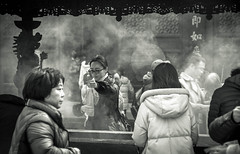May Your Wish Come True - Hangzhou, China (, ) (dlau Photography) Tags: china city travel vacation people urban blackandwhite white black monochrome temple outdoor pray sightseeing tourist hangzhou  wish tradition visitor  incense    lingyin  censer            nikonflickraward
