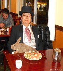 Dr. Takeshi Yamada and Seara (Coney Island sea rabbit) at the East Ocean Chinese Buffet in Brooklyn, NY on January 9, 2016. This is their favorite Chinese restaurant in New York.  20160109Sat DSCN3289=3020pC1. East Ocean Buffet (searabbits23) Tags: nyc ny newyork sexy celebrity art fashion animal brooklyn painting asian coneyisland japanese star tv google king artist dragon god manhattan wildlife famous gothic goth chinese performance pop taxidermy cnn tuxedo bikini portraiture tophat unitednations playboy entertainer takeshi samurai genius donaldtrump mermaid amc johnnydepp mardigras salvadordali unicorn billclinton hillaryclinton billgates aol vangogh curiosities sideshow jeffkoons globalwarming takashimurakami pablopicasso steampunk yamada damienhirst cryptozoology freakshow barackobama seara immortalized takeshiyamada museumofworldwonders roguetaxidermy searabbit ladygaga climategate