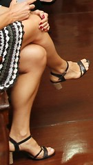 Candid calves (pizza cooking 2) Tags: woman hot girl athletic muscular candid heels toned calves