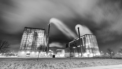 Tilted snowing (jarnasen) Tags: longexposure winter sky urban blackandwhite bw snow plant monochrome night contrast buildings mono smog nikon mood nightscape pov tripod perspective explore snowing nightphoto processed chimneys linkping heatingplant explored tekniskaverken d810 grstadverken samyang14mmf28 jarnasen longdistantheating