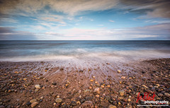 The North Sea from Spey Bay... (leeb.black) Tags: sea beach water clouds river bay north pebbles spey fochabers