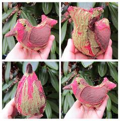 Bird Soft Sculpture (JoMo (peaceofpi)) Tags: canada bird animal stuffed folkart handmade mosaic sewing softie fabric artdoll patchwork softsculpture freemotion rawedge peaceofpi
