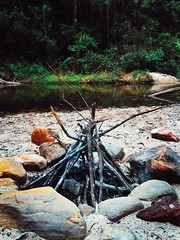 Rudiments of a campfire (Markus Jaaske) Tags: camping trees camp nature pool walking sticks pond australia bluemountains campfire