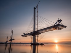 Making Progress (alancowper) Tags: longexposure bridge sunset olympus forth hdr omd firth m43 microfourthirds queensferrycrossing em5markii