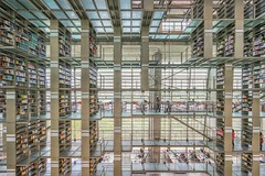 Library, Mexico City (urbanexpl0rer) Tags: glass architecture modern stairs mexico design daylight mexicocity library books bookshelf structure symmetry indoors mettal