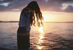 mind traveling (MarcoBekk) Tags: ocean light sunset portrait sky sun reflection film nature girl hair photography seaside beck grain human mind faceless marco traveling melancholy absent dreamscape anonym bekk