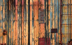 Incasement (Junkstock) Tags: wood old railroad abstract color texture abandoned vintage photography photo paint photos decay rustic transport maine trains textures photographs photograph transportation kennebunkport weathered abstraction aged artifact distressed corrosion artifacts decayed patina corroded relic oldstuff oldandbeautiful