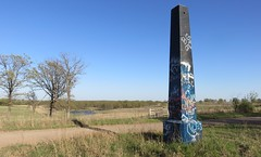 Old Ozark Trail Monument and Landscape (Stroud, Oklahoma) (courthouselover) Tags: oklahoma landscapes route66 obelisks stroud ok roadsideamerica lincolncounty ozarktrailmarkers oklahomacitymetropolitanarea