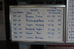 Train schedule for Kalaw (Michael Chow (HK)) Tags: burma myanmar kalaw