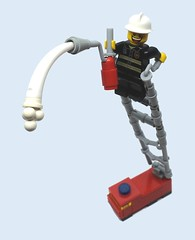 Benny the Fireman (2 Much Caffeine) Tags: fire lego firefighter extinguisher forcedperspective moc