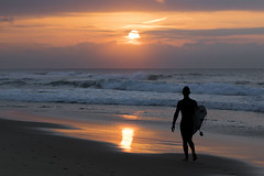 Early Surfer (liipgloss) Tags: ocean seascape reflection beach water clouds sunrise landscape sand surfer magichour 52frames brendaashley