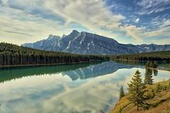 Rundle Reflections (John Andersen (JPAndersen images)) Tags: fall clouds reflections banff mountrundle twojacklake