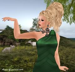 Rebel Hope in Ireland (Harper's gown) (Harper Ganesvoort) Tags: ireland green fashion secondlife whatever eveninggown stpatricksday laboheme mua nomatch glamorize rebelhope kunglers glamaffair slackgirl