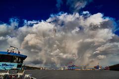 Drama Clouds (Froschknig Photos) Tags: sky clouds port river hamburg himmel drama hafen fluss elbe 2016 hafenfhre a6000 a6k dramaclouds vclecu1 sel16f28 sonyalpha6000 ilce6000