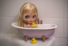 Baby Rita (Dolly Adventures in the Galland Household) Tags: cute art childhood bath doll bubbles rubber tub hi blythe custom collectibles duckies dollphotography dollartistry