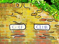 Loving Golf (Steve Taylor (Photography)) Tags: uk greatbritain blue red england white black brick green art leaves lines sign yellow wall club digital golf fun heart unitedkingdom snake course hedge lane gb ramsgate saintaugustines cottington