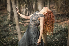 Thoughts (phillknightphotography) Tags: trees red green girl beauty fashion female canon hair eos model woods dress sheer 70d