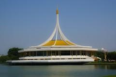 Rajamangala hall in Suan Luang Rama IX park in Bangkok, Thailand (UweBKK ( 77 on )) Tags: park lake building architecture thailand hall asia bangkok sony 9 southeast alpha dslr 77 rama slt ix luang suan rajamangala