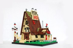 The Mystery Shack (soccersnyderi) Tags: roof light window grass sign wall mystery design model doors lego lawn entrance totem falls pole replica gravity porch shack lettering cellar moc