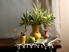 El jarrn amarillo (leograttoni) Tags: wood stilllife hoja madera buenosaires manzana interior crochet libro spoon bodegn cermica naturemorte laplata vace naturalezamuerta cuchara jarrn tazacup