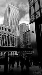 Heron Quays (PaulGibsonPhoto) Tags: city bw london tower skyscraper mono silhouettes samsung galaxy docklands canarywharf hsbc s6 onecanadasquare heronquays