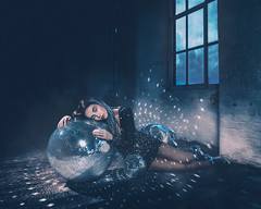 The Starry Night (adambird_) Tags: blue light sky art window fashion glitter night clouds ball studio stars disco mirror model fineart surreal sparkle story concept conceptual lying mirrorball discoball timwalker thestarrynight adambird adambirdphotography