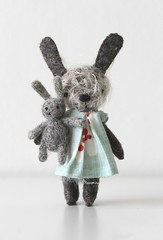 zedd, 9.5cm (miaki) Tags: rabbit bunny felted toy miniature handmade mini felt needle mohair manomine