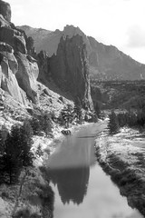 Crooked River - Smith Rocks - Oregon 1 BW (Don Thoreby) Tags: oregon pacificnorthwest wilderness rockclimbing bendoregon crookedriver smithrocks deschutescounty riverscene smithrocksstatepark terrebonneoregon