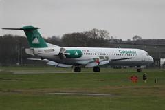 YR-FKA landing. (aitch tee) Tags: f100 airline cardiffairport carpatair yrfka