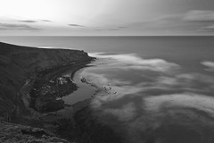 The Water Wins the Fight (will.mc144) Tags: longexposure sunset sea cliff seascape water landscape evening seaside waves yorkshire northyorkshire staithes seadefence yorkshirecoast
