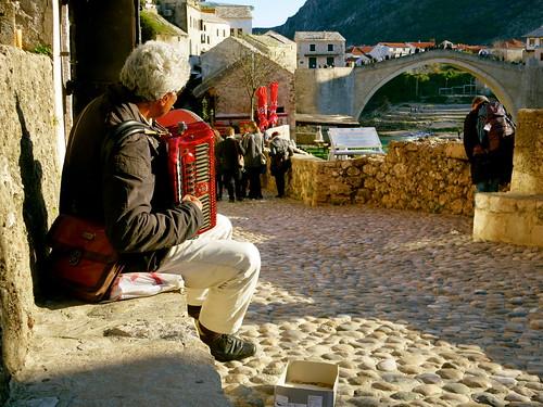 Accordionist near Stari Most, Mostar, Bosnia & Hercegovina