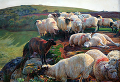 Hunt, Our English Coasts ('Strayed Sheep'), detail with flock