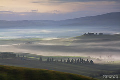 Tuscany countryside in misty morning (Agrippino Salerno) Tags: morning sky italy mist green colors misty fog sunrise canon countryside hills tuscany siena pienza valdorcia agrippinosalerno