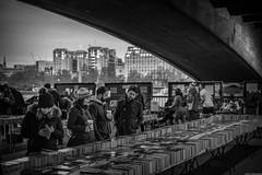 Under the bridge (aljones27) Tags: street bridge people blackandwhite bw london monochrome book market books tourists southbank londoners