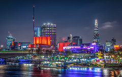 London night fever (aurlien.leroch) Tags: uk longexposure england london colors night nikon cityscape southbank londres bluehour shard d3000