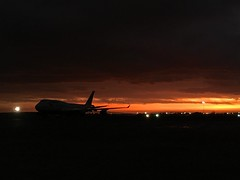 747 at dawn (vlc3k) Tags: morning sun silhouette sunrise dawn early boeing 747 747400 iphone