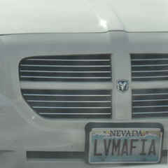 Vegas: Home of Guns & Gambling (Veee Man) Tags: italy white car square 6ws lasvegas nevada gimp grill crime dodge ram godfather customlicenseplate nikond5000 lasvegasmafia