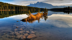 Island Rising (JA Photography - Be There, Out There) Tags: sunset canada island alberta banffnationalpark twojacklake