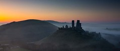Castle Dawn (steveS999) Tags: mist castle sunrise dawn dorset corfe purbeck