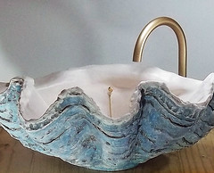 Blue Sink 1 (LittleGems AR) Tags: ocean blue sea sculpture sun beach home giant bathroom shower aquarium soap sand bath sink unique decorative aquamarine shell craft style toilet towel clam basin special clean shampoo taps wash seashell pearl nautical reef decor spa luxury opulent fossils clamshell mollusks cloakroom bespoke tridacna sculpt crafted gigas facetowel