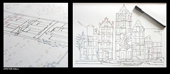 Amsterdam In 1000 Dots (peterphotographic) Tags: city uk england london art home amsterdam pen ink diptych britain drawing craft olympus draw e17 1000 thousand walthamstow eastlondon dottodot citscape dotodot thomaspavitte microfourthirds peterhall em5mk2 p2060469dipedwm