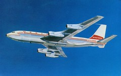 Boeing 720B FanJet (SwellMap) Tags: architecture plane vintage advertising design pc airport 60s fifties aviation postcard jet suburbia style kitsch retro nostalgia chrome americana 50s roadside googie populuxe sixties babyboomer consumer coldwar midcentury spaceage jetset jetage atomicage