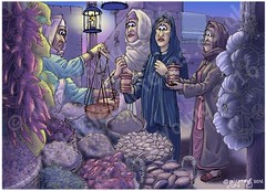 Mark 16 - Resurrection of Jesus - Scene 01 - Buying spices (Night version) (Martin Young 42) Tags: easter market mark jesus stall salome marymagdalene spiceseller nightversion marksgospel mark161 marythemotherofjamestheless