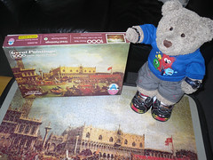 I likes this one! (pefkosmad) Tags: jigsaw puzzle leisure pastime hobby canaletto painting art venice greatpaintings arrowgameslimited vintage unopened sealed unused charityshop bargain thebucintororeturningtothemoloonascensionday oldmaster returnofthebucintorotothemoloonascensionday tedricstudmuffin ted teddy bear fluffie plush stuffed toy soft funny